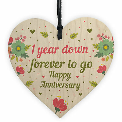 1st 2nd 3rd 4th 5th 10th 20th Wedding Anniversary Gift Wooden Heart Gift For Her • 3.99£