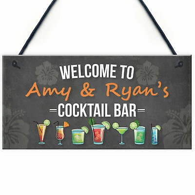 £4.99 • Buy Personalised Cocktail Bar Sign Hanging Wall Plaque Home Bar Pub Man Cave Decor