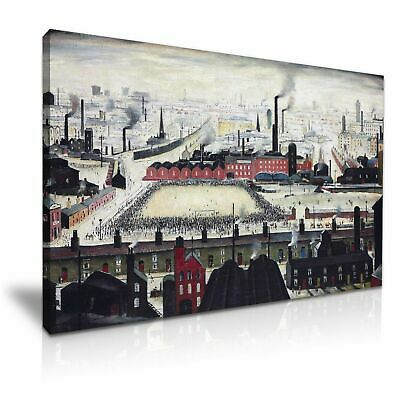 L.S. Lowry Football Match Canvas Wall Art Picture Print Framed 20x30 INCHES • 25.99£
