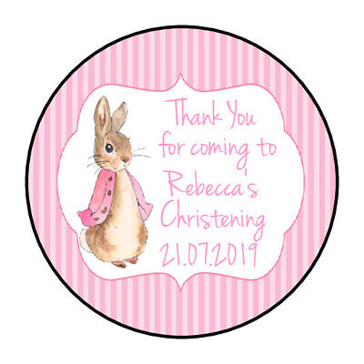 Personalised Christening Stickers For Girls GLOSS Party Sweet Bag Peter Rabbit  • 3.40£