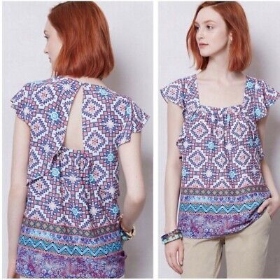 $ CDN31.78 • Buy Anthropologie Meadow Rue Short Ruffle Flutter Sleeve Blouse Size 6 Square Neck