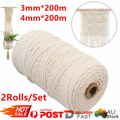 AU26.91 • Buy 2Pcs 3mm/4mm Macrame Rope Natural Beige Cotton Twisted Cord Artisan Hand Craft