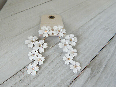 $ CDN52.74 • Buy Earrings Flowers White Bunches Anthropologie Front Back 2 Way Dangle New$58