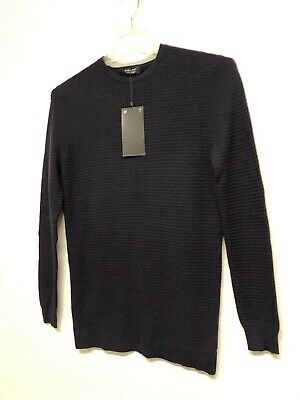 $16.24 • Buy NWT ZARA MAN Navy Textured Weave Knit Sweater Straight Fit Long Sleeves SIZE XL