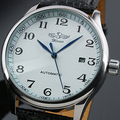 AU34.49 • Buy Automatic Mechanical Men's Watch Blue Hands Auto Date Display White Dial Leather