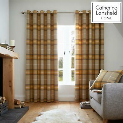 Catherine Lansfield Brushed Heritage Check Fully Lined Eyelet Curtains Ochre • 29.99£