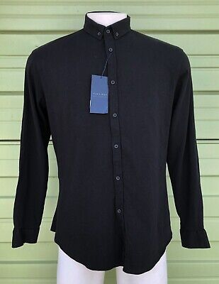 $19.10 • Buy NWT ZARA MAN BLACK Slim Fit Shirt Long Sleeve Patches Button Front Size XL