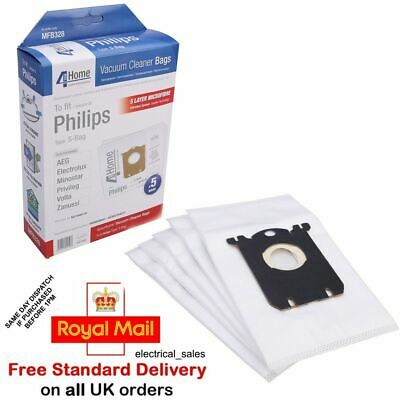 FITS PHILIPS ZANUSSI ELECTROLUX VACUUM CLEANER MICROFIBRE S CLASS DUST BAGS X 5 • 7.99£