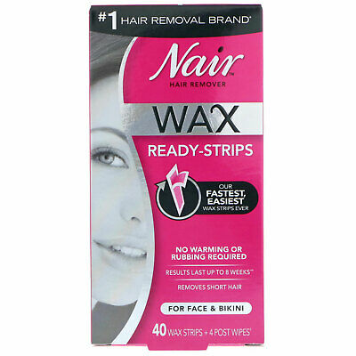 $9.98 • Buy Hair Remover, Wax Ready-Strips, For Face & Bikini, 40 Wax Strips + 4 Post Wipes