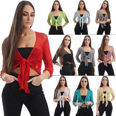 £7.99 • Buy Womens Open Front Tie Up Shrug Ladies Knitted Cropped Bolero Short Cardigan Top