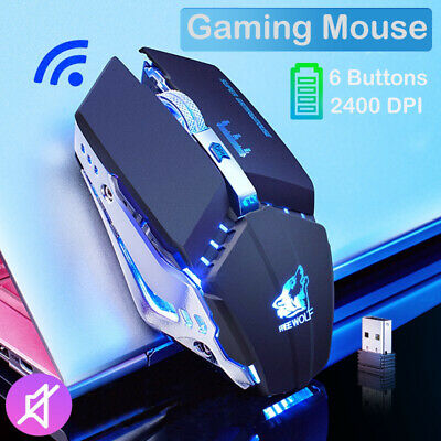 AU26.59 • Buy AU Wireless Gaming Mouse 7 Color LED Lights USB 2400DPI For Laptop  PC Notebook