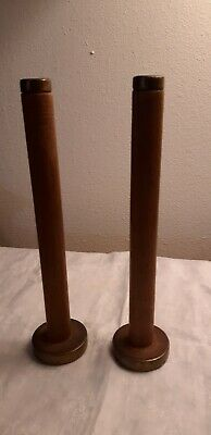Pair Vintage Collectible Wool Loom Wood Metal Yarn Holder  • 10.60£