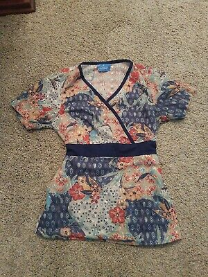 $7.99 • Buy Elan By Barco Scrub Top With Tie Waist Navy Floral Sz Small