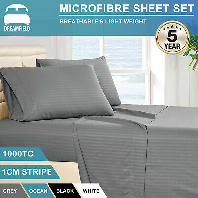 AU38.80 • Buy 1000TC Striped Ultra Soft Microfiber Fitted Flat Sheet Set All Size Pillowcases
