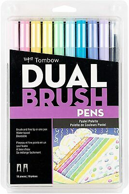 Tombow ABT Dual Brush Pens Art Markers Brush And Fine Tip Set Of 10 Pastels • 16.49£