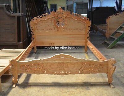 First Time In UK 100% OAK Wood French Style Rococo Bed   UK King Size 5' • 799£