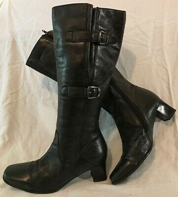 Pavers Black Knee High Leather Lovely Boots Size 5 (544v) • 27£