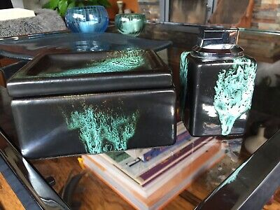 Vintage 1970s West German Pottery Style Cigarette Box And Matching Table Lighter • 20£