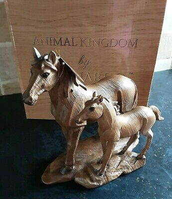 Mare & Foal Horse Statue Wood Effect Horses Heads The Leonardo Collection • 25£