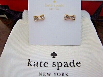 $ CDN37.54 • Buy Kate Spade New York Pave Bow Stud Earrings Gold Tone New W/Pouch/Box