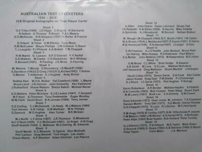 AU850 • Buy Australian Cricket Test Players Signed Cards Collection 215+ Cards