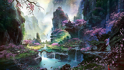 Japanese Abstract Painting - Colourful Landscape Large Canvas Picture 20x30 Inch • 21.99£