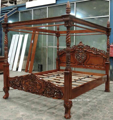 £1999 • Buy BESPOKE 6' Super King 181x201 Mahogany  Wood French Rococo Style Four Poster Bed