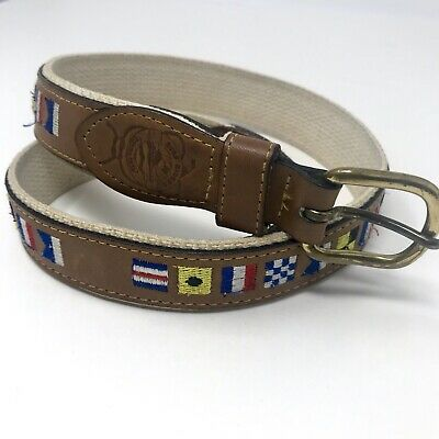 $15.70 • Buy Reef Riders Canvas & Leather Belt Nautical Flags Fishing  Sz 32