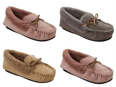 Ladies Dr Keller Orthopaedic Wide Fit Fleece Moccasin Slippers Loafers Size 3-8 • 10.99£