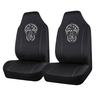AU37.99 • Buy Universal 2 Front Car Seat Covers Skull Pattern Auto Interior Accessories Black