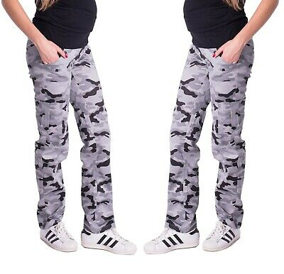 £17.99 • Buy Maternity Pregnancy Cotton Grey Camouflage Trousers Cargo Pants Over Bump 8 - 18