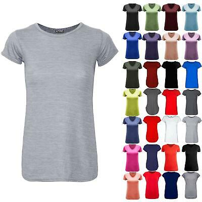 Womens Ladies Plain Stretchy Round Neck Basic Jersey Casual T Shirt Tee Top • 6.99£