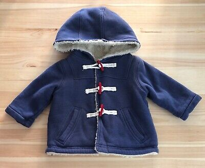 £8.46 • Buy MINI BABY BODEN Navy Shaggy Lined Hooded Sweater Coat Size 3-6 Months