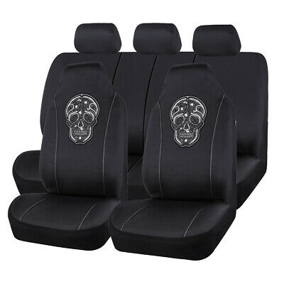 AU56.99 • Buy Universal Car Seat Covers Black Skull Pattern Hooded Front Seat Covers Airbag