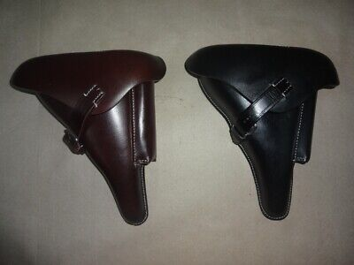 Leather Holster For WW2 German P08 Black & Brown Color (Set Of 2) - Repro P297 • 47.19£