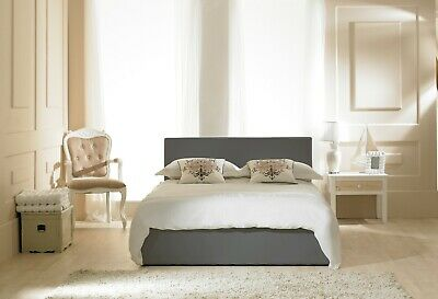 Emporia Grey Leather Madrid Ottoman Bed Mattress Option 4ft 4ft6 Double 5ft 6ft  • 329£