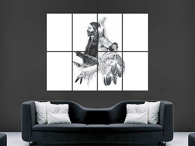 Native American Indian Chief Poster Picture Huge Art Print Large • 17.99£
