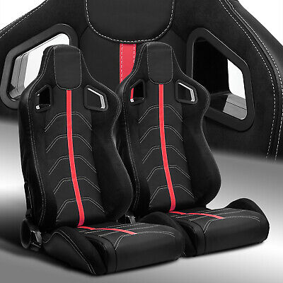 $292.69 • Buy 2 X Reclinable PVC Leather/Red Strip Left/Right Racing Bucket Seats Slider