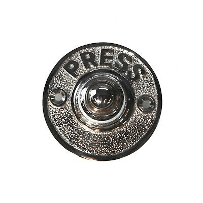 Round Press Chrome Door Bell Antique Style Push Button Restoration Hardware • 11.20£