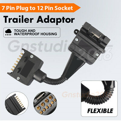 AU18.87 • Buy 7 Pin Flat Plug To 12 Pin Socket Female & Male Adaptor Trailer Caravan Connector