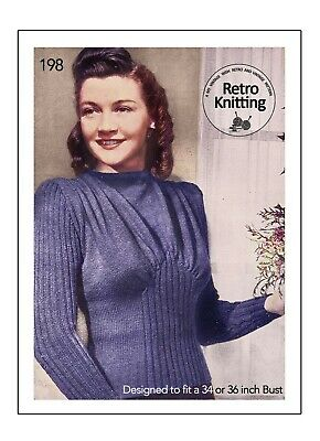 £3.99 • Buy Knitting Pattern For A 1940's Wartime Draped Front Sweater Bust 34 And 36