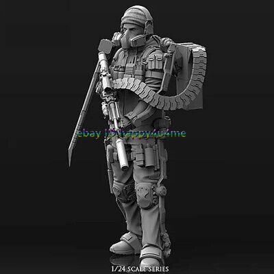 1/24 Mechanical Warrior Figure Model Unpainted Garage Kits Cyborg Soldier Statue • 18.99£
