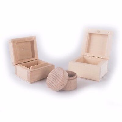 Choice Of Wooden Ring Boxes / Earrings Jewellery Storage Box / Craft Plain Wood  • 5.89£