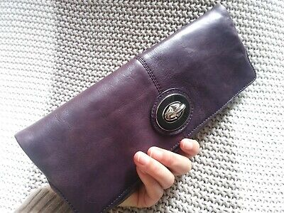 $ CDN24 • Buy Danier Aubergine Eggplant Plum Purple Clutch Silver Turnlock Hardware Coin Purse