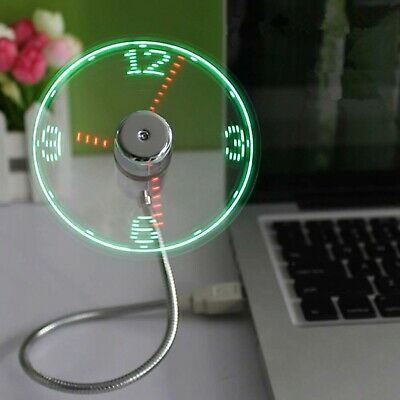 AU35 • Buy USB Fan Clock Night Light Office Desk Time LED Mini Small Luminous Lamp Work Fun