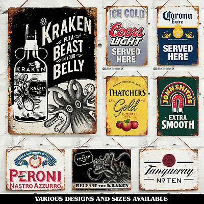 PUB Collection Metal Wall Sign Bar Garage Shed Mancave Beer Lager Gin Cider Rum • 7.25£