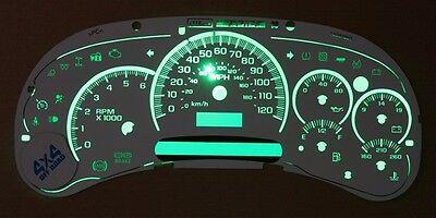 $79 • Buy Chevy GMC Truck Cluster White Face Overlay Steppers Green LED Kit 03 04 05