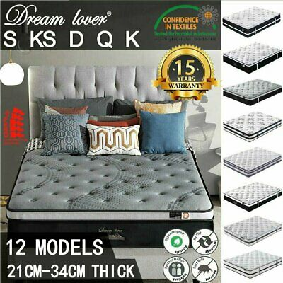 AU170.10 • Buy DREAM LOVER Mattress Queen Double King Single Bed Firm Memory Foam Pocket Spring