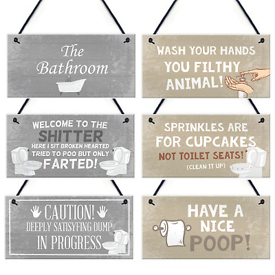 £3.99 • Buy Bathroom Accessories Plaques Sign Novelty Home Decor Grey / Beige Toilet Gifts