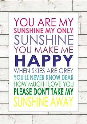 You Are My Sunshine My Only Sunshine Typography Inspiring Nursery Print Canvas • 5.95£